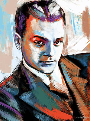 Curated Bath Towels - James Cagney painting by Stars on Art