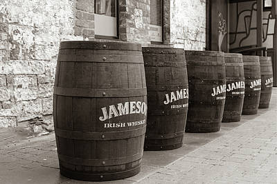 Photograph - Jameson Barrels In Sepia by Georgia Fowler