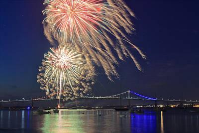 Romantic French Magazine Covers - Jamestown Fireworks and Newport Pell Bridge by John Burk