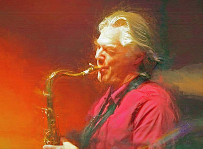 Jazz Mixed Media Royalty Free Images - Jan Garbarek Royalty-Free Image by Mal Bray