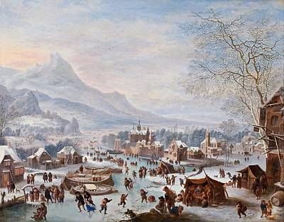 Painting - Jan Griffier - Winter Scene With Skaters by Jan Griffier