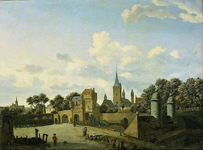 Painting - Jan Van Der Heyden - De Sankt Severin Te Keulen Opgenomen In Een Gefantaseerd Stadsbeeld C.1670 by Jan van der Heyden
