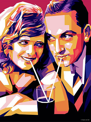 Auto Illustrations - Janet Gaynor and Fredric March by Stars on Art