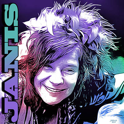 Music Digital Art - Janis by Greg Joens