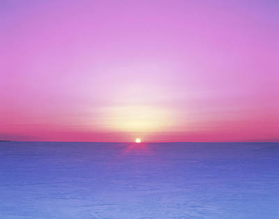 Scenery Photograph - Japan, Hokkaido, Sunset Over Snow by Mitsushi Okada