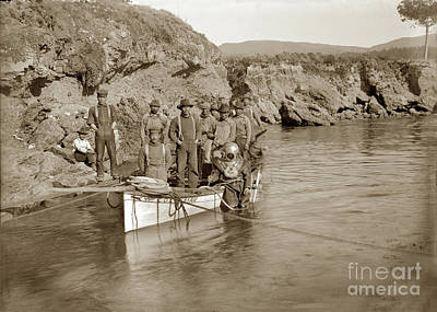 Photograph - Japanese  Abalone  Dive Boat Columbia With A Hardhat Diver At Point Lobos by California Views Archives Mr Pat Hathaway Archives