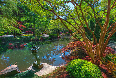 Photograph - Japanese Garden At Gibbs Watercolor Painting by Debra and Dave Vanderlaan