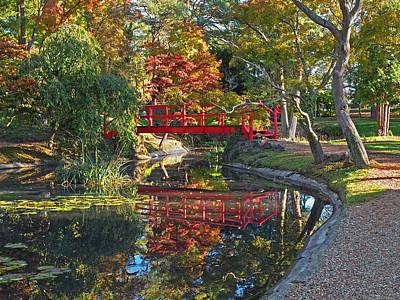 Photograph - Japanese Garden Red Bridge Reflection by Gill Billington