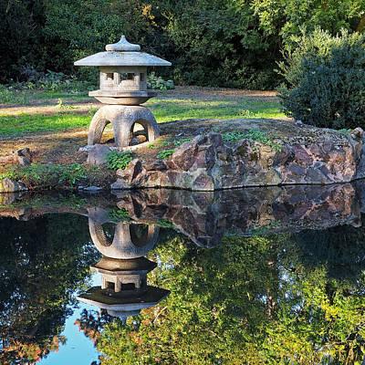Photograph - Japanese Garden Stone Lantern Reflection by Gill Billington