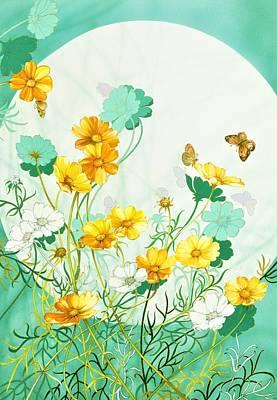 Cosmos Flowers Painting - Japanese Modern Interior Art #27 by ArtMarketJapan