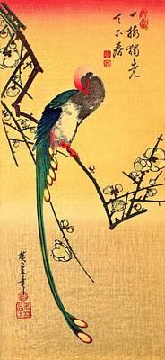 Flycatcher Wall Art - Painting - Japanese Paradise Flycatcher On Plum by Utagawa Hiroshige