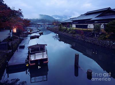 Katsura Wall Art - Photograph - Japanese Sightseeing Boats In A Misty Autumn Scenery At Katsura  by Awen Fine Art Prints
