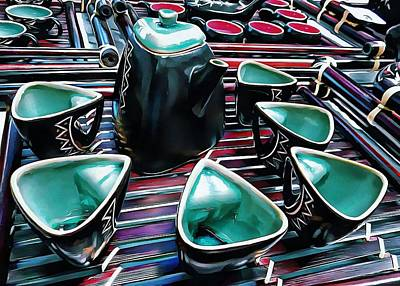 Photograph - Japanese Tea Set Turquoise by Dorothy Berry-Lound