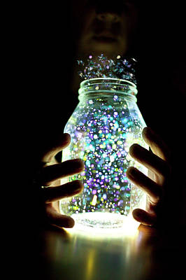 Jar Photograph - Jar And Glow Sticks by 55 Random Clicks Photography By Jodie Mcguire