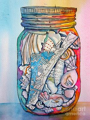 Wall Art - Painting - Jar With W/ Map Ami by Midge Pippel