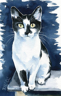 Painting - Jasper Tuxedo Cat Painting By Dora Hathazi Mendes by Dora Hathazi Mendes