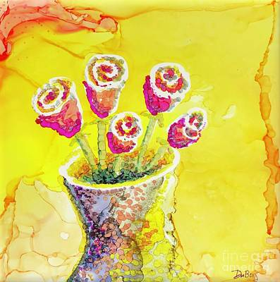 Painting - Jaunty Rosebuds by Lisa DuBois