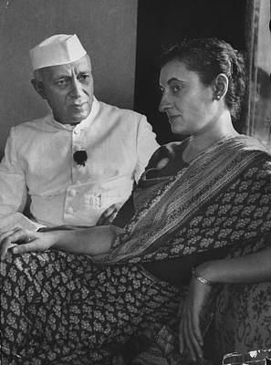 Photograph - Jawaharlal Nehru & Familyindira Gandhi by Lisa Larsen