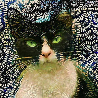 Digital Art - Jax The Tuxedo Cat by Peggy Collins