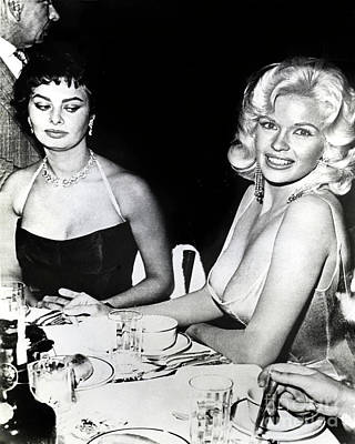 Photograph - Jayne Mansfield Hollywood  Actress And Italian Actress Sophia  by California Views Archives Mr Pat Hathaway Archives