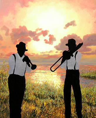 New Orleans Wall Art - Painting - Jazz Al Tramonto by Guido Borelli