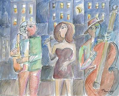 Musicians Drawings - Jazz Nightowls by Gerry High