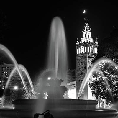 Photograph - Jc Nichols Black And White Fountain And Giralda Tower - Square by Gregory Ballos