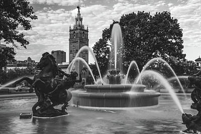 Photograph - Jc Nichols Black And White Fountain Waters by Gregory Ballos
