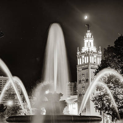 Photograph - Jc Nichols Fountain In Kc Plaza - Sepia Square Format by Gregory Ballos