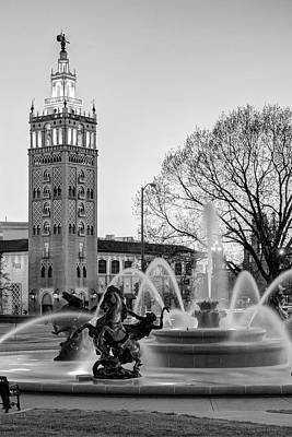 Photograph - Jc Nichols Fountain Plaza At Dusk - Kansas City Monochrome by Gregory Ballos