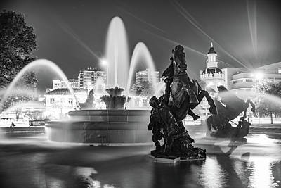 From The Kitchen - JC Nichols Fountain Statues at Night - Monochrome by Gregory Ballos
