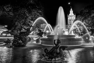 Photograph - Jc Nichols Fountain Under Moonlight - Kansas City Black And White by Gregory Ballos