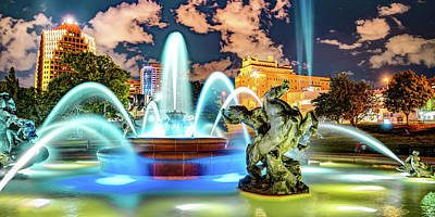 Royalty-Free and Rights-Managed Images - J.C. Nichols Memorial Fountain and Statues Panorama - Kansas City Plaza by Gregory Ballos