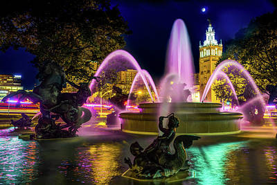 Photograph - Jc Nichols Memorial Fountain Night Colors On The Plaza by Gregory Ballos