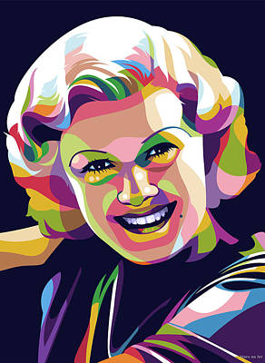 Beach House Throw Pillows - Jean Harlow illustration by Stars on Art