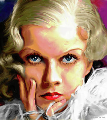 Curated Bath Towels - Jean Harlow painting by Stars on Art