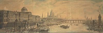 Painting - Jean Louis Desprez - Somerset House, Saint Paul's Cathedral And Blackfriar's Bridge by Jean Louis Desprez