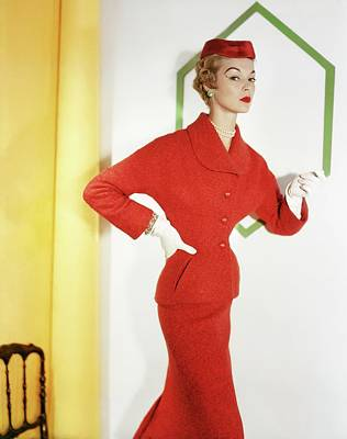 Photograph - Jean Patchett Wearing Christian Dior by Horst P. Horst