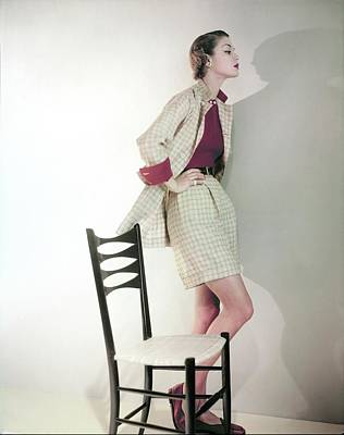 Photograph - Jean Patchett Wearing Tina Leser Tattersall by Horst P. Horst