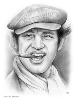 Drawings Rights Managed Images - Jean-Paul Belmondo Royalty-Free Image by Greg Joens