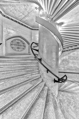 Photograph - Jefferson Market Spiral Stairs Nypl Bw by Susan Candelario
