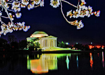 Photograph - Jefferson Memorial At Night With Cherry Blossoms by Bill Jonscher