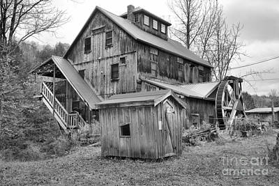Photograph - Jeffersonville Vermont Grist Mill Landscape Black And White by Adam Jewell
