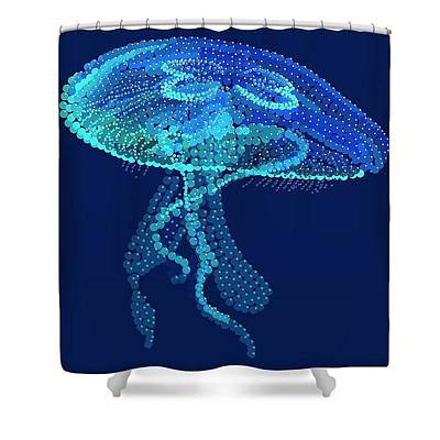 Digital Art - Jellyfish Shower Curtain by R  Allen Swezey