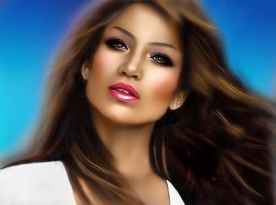 Digital Art - Jennifer Lopez by Karen Showell