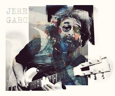 Folk Music Wall Art - Mixed Media - Jerry Garcia - Retro  by Paul Lovering