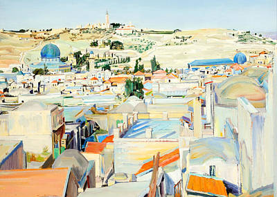 Photograph - Jerusalem City And Mount Of Ascension 1925 by Munir Alawi