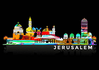 Photograph - Jerusalem Skyline In Black by Munir Alawi