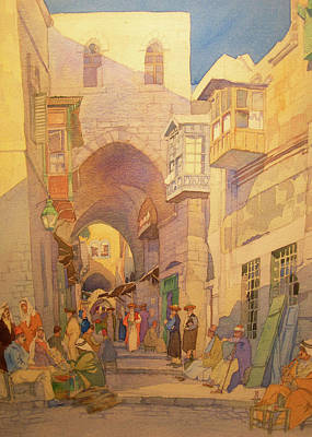 Photograph - Jerusalem Street Early Twentieth Century by Munir Alawi