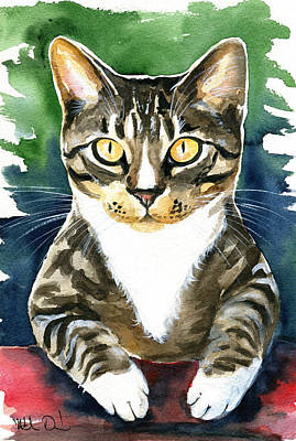 Painting - Jess Tabby Cat Painting by Dora Hathazi Mendes